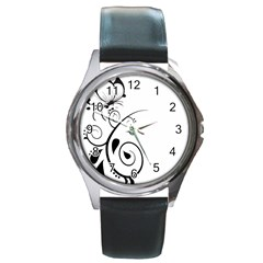 Floral Butterfly Design Round Leather Watch (Silver Rim)