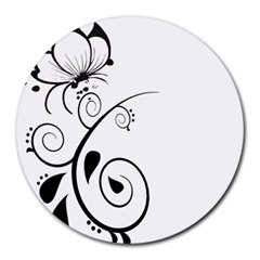 Floral Butterfly Design 8  Mouse Pad (Round)