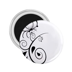 Floral Butterfly Design 2 25  Button Magnet