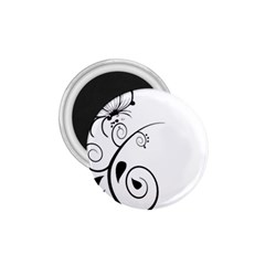 Floral Butterfly Design 1.75  Button Magnet