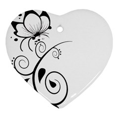Floral Butterfly Design Heart Ornament