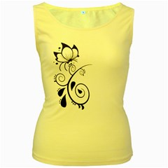 Floral Butterfly Design Women s Tank Top (Yellow)
