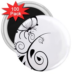 Floral Butterfly Design 3  Button Magnet (100 Pack)