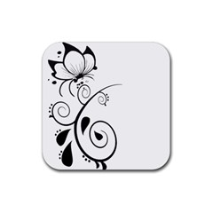Floral Butterfly Design Drink Coaster (Square)