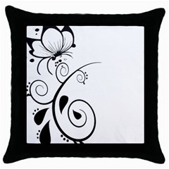 Floral Butterfly Design Black Throw Pillow Case