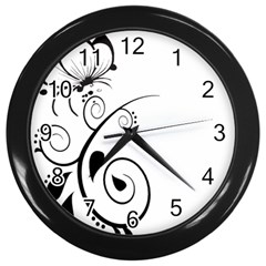 Floral Butterfly Design Wall Clock (black)