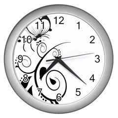 Floral Butterfly Design Wall Clock (silver)