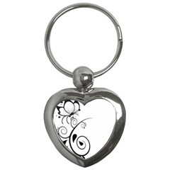 Floral Butterfly Design Key Chain (heart)