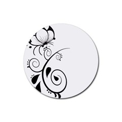 Floral Butterfly Design Drink Coasters 4 Pack (Round)