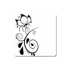 Floral Butterfly Design Magnet (Square)