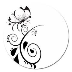 Floral Butterfly Design Magnet 5  (round)