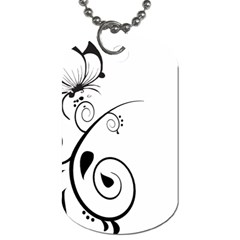 Floral Butterfly Design Dog Tag (One Sided)