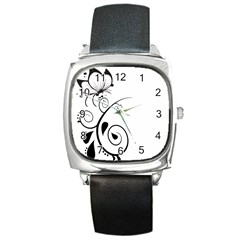 Floral Butterfly Design Square Leather Watch