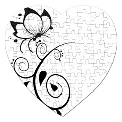 Floral Butterfly Design Jigsaw Puzzle (Heart)