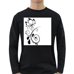 Floral Butterfly Design Men s Long Sleeve T Shirt (dark Colored)
