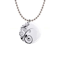 Floral Butterfly Design Button Necklace