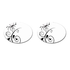 Floral Butterfly Design Cufflinks (Oval)