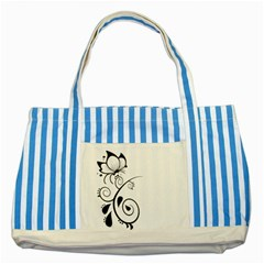 Floral Butterfly Design Blue Striped Tote Bag