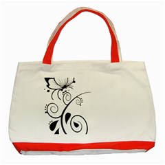 Floral Butterfly Design Classic Tote Bag (red)