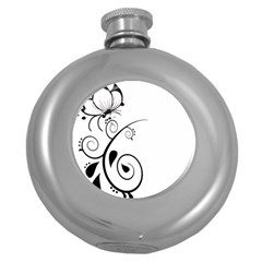 Floral Butterfly Design Hip Flask (Round)