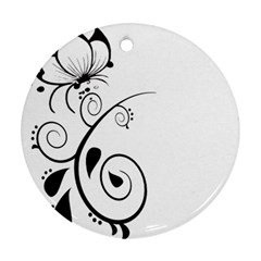 Floral Butterfly Design Round Ornament (two Sides)