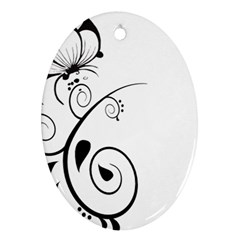 Floral Butterfly Design Oval Ornament (Two Sides)