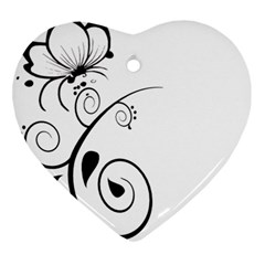 Floral Butterfly Design Heart Ornament (Two Sides)