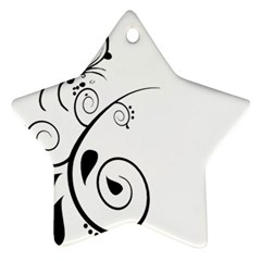 Floral Butterfly Design Star Ornament (Two Sides)