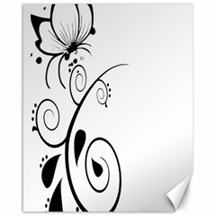 Floral Butterfly Design Canvas 16  X 20  (unframed)
