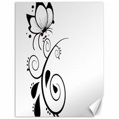 Floral Butterfly Design Canvas 18  x 24  (Unframed)