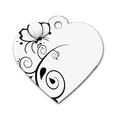 Floral Butterfly Design Dog Tag Heart (One Sided)