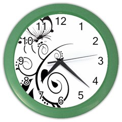Floral Butterfly Design Wall Clock (Color)