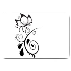 Floral Butterfly Design Large Door Mat
