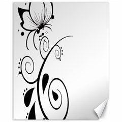 Floral Butterfly Design Canvas 11  x 14  (Unframed)
