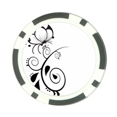 Floral Butterfly Design Poker Chip