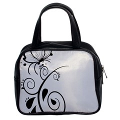 Floral Butterfly Design Classic Handbag (Two Sides)