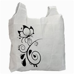 Floral Butterfly Design White Reusable Bag (One Side)