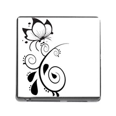 Floral Butterfly Design Memory Card Reader With Storage (square)
