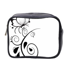 Floral Butterfly Design Mini Travel Toiletry Bag (two Sides)