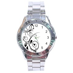 Floral Butterfly Design Stainless Steel Watch