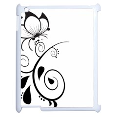 Floral Butterfly Design Apple Ipad 2 Case (white)