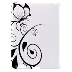 Floral Butterfly Design Apple iPad 3/4 Hardshell Case (Compatible with Smart Cover)