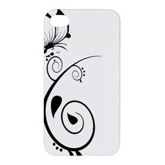 Floral Butterfly Design Apple Iphone 4/4s Premium Hardshell Case