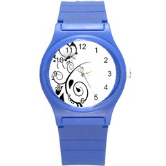 Floral Butterfly Design Plastic Sport Watch (Small)