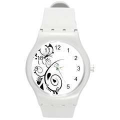 Floral Butterfly Design Plastic Sport Watch (Medium)