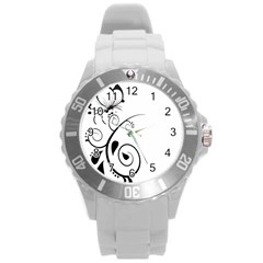 Floral Butterfly Design Plastic Sport Watch (large)