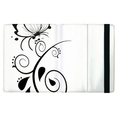 Floral Butterfly Design Apple iPad 2 Flip Case