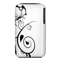Floral Butterfly Design Apple iPhone 3G/3GS Hardshell Case (PC+Silicone)