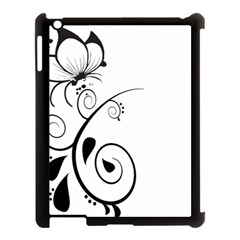 Floral Butterfly Design Apple iPad 3/4 Case (Black)