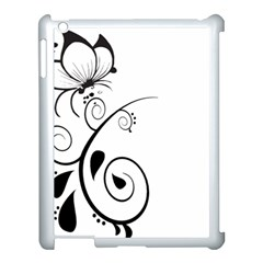 Floral Butterfly Design Apple iPad 3/4 Case (White)